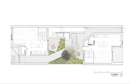 Dossier de presse | 1676-01 - Communiqué de presse | La Géode - ADHOC Architectes - Architecture résidentielle - Plan niveau 1 - Crédit photo : ADHOC architectes