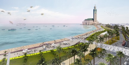 Press kit | 865-22 - Press release | Rediscover Lemay: 60 Years of Visionary Design - Lemay - Event + Exhibition - Coastal promenade of the Hassan II Mosque - Lemay - Casablanca, Morocco, In Progress - Photo credit: Rendering - Lemay