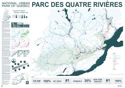 Dossier de presse | 2647-02 - Communiqué de presse | Concours international d'idéesRêvons nos rivières : trois lauréats au concours pour quatre rivières - Ville de Québec - Design urbain -   Deuxième prix- Carte du Parc des quatre rivières   - Crédit photo :  L'équipe WHITE Arkitekter