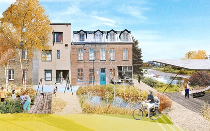 Press kit | 2647-02 - Press release | Concours international d'idéesRêvons nos rivières : trois lauréats au concours pour quatre rivières - Ville de Québec - Urban Design -  First place - River Terminus of Headwater Lot at Pointe-aux-Lièvres<br><br>        The covered platform at the river space is shown as a exhibition grounds connected to Pointe-aux-Lièvres sports site and proposed park redevelopment area. This terminus is grounds to celebrate the relationship between the expanded mixed-use corridor, existing urban areas, and ecological design of the headwater lot.<br>  - Photo credit: The CADASTER team