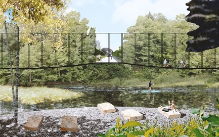 Press kit | 2647-02 - Press release | Concours international d'idéesRêvons nos rivières : trois lauréats au concours pour quatre rivières - Ville de Québec - Urban Design -  First place -&nbsp;River Terminus of Headwater Lot Near Park Chauveau<br><br>        The headwater lot in suburban areas is imagined as an expanded public space that provides a strong access to the rivers. The river terminus in wide riparian corridors is considered to have a minimal intervention for public interaction. Gravel beach on the inner bend meanders and a suspended walkways are proposed here.&nbsp;<br> - Photo credit: The CADASTER team