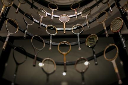 Press kit | 3003-01 - Press release | WADA Sports, Flagship Store - Matsuya Art Works / KTX archiLAB - Commercial Interior Design - Wooden vintage Rackets<br> - Photo credit: Stirling Elmendorf