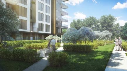 Dossier de presse | 3070-01 - Communiqué de presse | DevMcGill et TGTA remportent un prestigieux Prix INOVA décerné par l'IDU pour leur projet Le Castelnau - DevMcGill - Architecture résidentielle - Parc - Crédit photo : DevMcGill