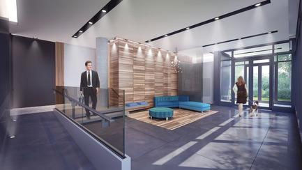 Dossier de presse | 3070-01 - Communiqué de presse | DevMcGill et TGTA remportent un prestigieux Prix INOVA décerné par l'IDU pour leur projet Le Castelnau - DevMcGill - Architecture résidentielle - Lobby - Crédit photo : DevMcGill