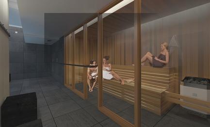 Dossier de presse | 3070-01 - Communiqué de presse | DevMcGill et TGTA remportent un prestigieux Prix INOVA décerné par l'IDU pour leur projet Le Castelnau - DevMcGill - Architecture résidentielle - Sauna - Crédit photo : DevMcGill