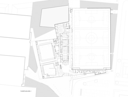 Press kit | 2206-02 - Press release | Complexe sportif Saint-Laurent - Saucier + Perrotte Architectes/HCMA - Architecture institutionnelle - Plan - Photo credit:  Saucier+Perrotte Architectes