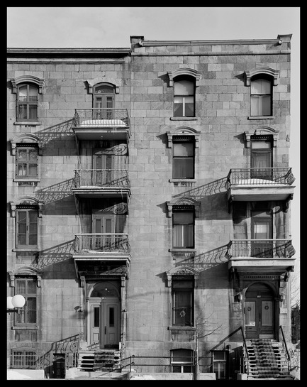 "Dossier de presse | 756-18 - Communiqué de presse | The CCA Presents ""Greystone: Tools for Understanding the City"". - Canadian Centre for Architecture (CCA) - Event + Exhibition - Phyllis Lambert and Richard Pare. Lusignan/Guy-Fabre Row houses, Saint Jacques, 1866. Photograph taken between 1973 and 1974.  - Crédit photo : Phyllis Lambert Collection. © Phyllis Lambert and Richard Pare. <br>"
