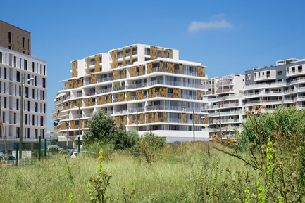 Press kit | 921-11 - Press release | 87-Apartment Housing Complex «Lez-in-Art» in the Left Bank ZAC (SERM) in Montpellier - France - NBJ architectes - Residential Architecture - View of the South-Est facade - Photo credit:  ©photoarchitecture.com