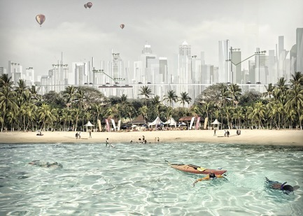 Dossier de presse | 2560-02 - Communiqué de presse | A 58 km2 Visionary Master Plan, Jakarta Jaya: the Green Manhattan, Wins a WAFX Prize - SHAU - Urban Design -         New tourism: a juxtaposition of white sandy beach with vertical green city - Crédit photo : @shauarchitects
