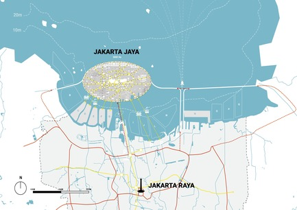Dossier de presse | 2560-02 - Communiqué de presse | A 58 km2 Visionary Master Plan, Jakarta Jaya: the Green Manhattan, Wins a WAFX Prize - SHAU - Urban Design -         Connectivity map of Jakarta Jaya: the Green Manhattan and Jakarta Raya: the old city - Crédit photo : @shauarchitects
