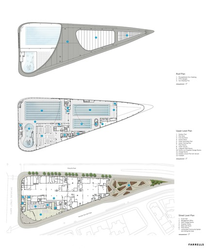 Dossier de presse | 1474-01 - Communiqué de presse | Hong Kong's Kennedy Town Swimming Pool - Farrells - Commercial Architecture - Roof plan, pool deck plan, and ground floor plan. - Crédit photo : Farrells