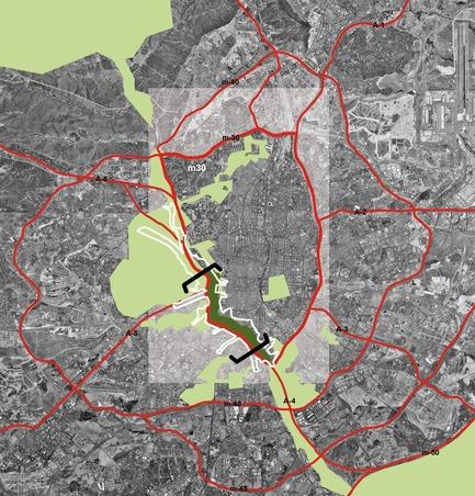 Dossier de presse | 3076-01 - Communiqué de presse | Madrid Rio. Une nouvelle écologie urbaine - Burgos & Garrido; Porras La Casta; Rubio & A-Sala et West 8 [Ginés Garrido, directeur du projet] - Architecture de paysage - Zone d'intervention - Crédit photo : Auteurs du projet
