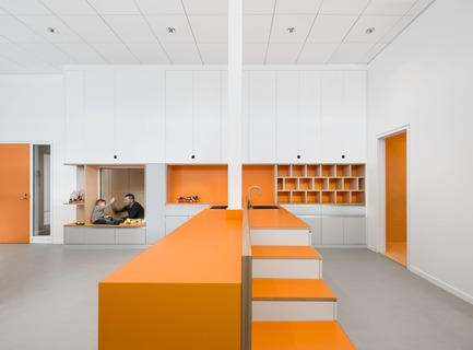 "Press kit | 916-07 - Press release | Menkès Shooner Dagenais LeTourneux Architectes Wins ""Best of Canada Design"" Award for Ericsson's New Montreal Office - Menkès Shooner Dagenais LeTourneux Architectes - Industrial Architecture - Daycare – Orange Classroom - Photo credit:  Stéphane Brügger"