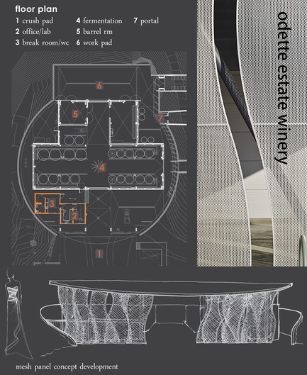 Dossier de presse | 3089-01 - Communiqué de presse | Odette Estate Winery - Signum Architecture LLP - Architecture industrielle -   The winery's layout and a concept sketch for its sliding panels illustrate its unique industrial design.    - Crédit photo :  Signum Architecture, LLP