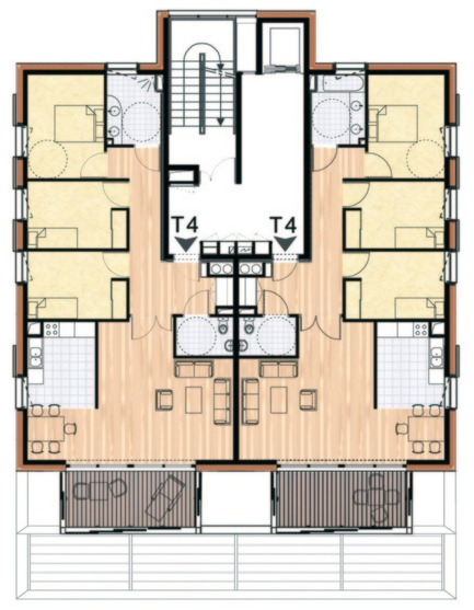 Press kit | 1059-01 - Press release | Accommodations with low consumption in the Leonard de Vinci school - Hellin-Sebbag architectes associés - Residential Architecture - Stock plan of a floor Plan Etage Courant - Photo credit: HELLIN-SEBBAG