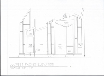 Dossier de presse | 3136-02 - Communiqué de presse | Butterfly Studio - Valerie Schweitzer Architects - Architecture résidentielle - Elevation shows the linkage of stucco and wood panels - Crédit photo : Drawing by Valerie Schweitzer AIA