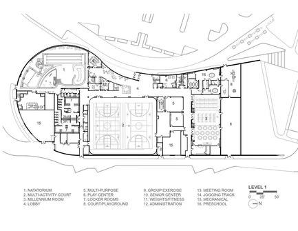 Press kit   1456-01 - Press release   Maryland Heights Community Recreation Center - CannonDesign - Commercial Architecture - Floor Plan - Level 1 - Photo credit: CannonDesign