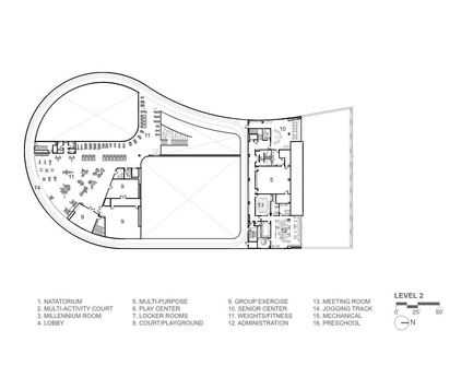 Press kit   1456-01 - Press release   Maryland Heights Community Recreation Center - CannonDesign - Commercial Architecture - Floor Plan - Level 2 - Photo credit: CannonDesign