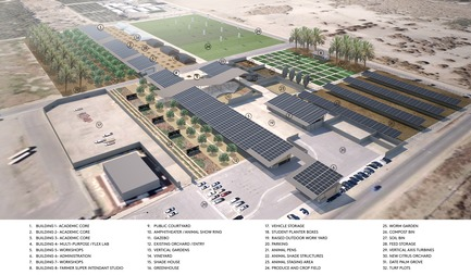 Press kit | 3202-01 - Press release | Coachella Valley High School Agriculture + Natural Resources Academy - PJHM Architects - Institutional Architecture -  CVHS Agriculture + Natural Resources - Site Aerial Program - Photo credit: PJHM Architects