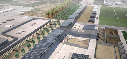Press kit | 3202-01 - Press release | Coachella Valley High School Agriculture + Natural Resources Academy - PJHM Architects - Institutional Architecture - CVHS Agriculture + Natural Resources - Site Aerial - Photo credit: PJHM Architects