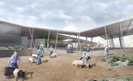 Press kit | 3202-01 - Press release | Coachella Valley High School Agriculture + Natural Resources Academy - PJHM Architects - Institutional Architecture - CVHS Agriculture + Natural Resources - Animal Show Ring - Photo credit: PJHM Architects