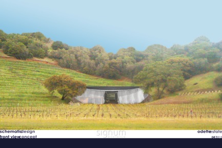 Dossier de presse | 3089-01 - Communiqué de presse | Odette Estate Winery - Signum Architecture LLP - Industrial Architecture - Front view concept rendering, Odette Estate Winery production facility. - Crédit photo : Signum Architecture, LLP