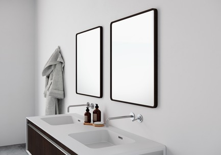 Press kit | 2342-02 - Press release | Introducing Déco Collection - WETSTYLE - Product - Déco Mirrors and Déco 60 inch floor-mount vanity. Wood finish: Oak Coffee Bean wood and white matte lacquer. Stainless steel finish: Brushed metal - Photo credit: WETSTYLE