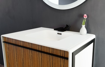 Press kit | 2342-02 - Press release | Introducing Déco Collection - WETSTYLE - Product - Déco 36 inch floor-mount vanity. Wood finish: Mozambique wood and white matte lacquer. Stainless steel finish: matte black. - Photo credit: WETSTYLE