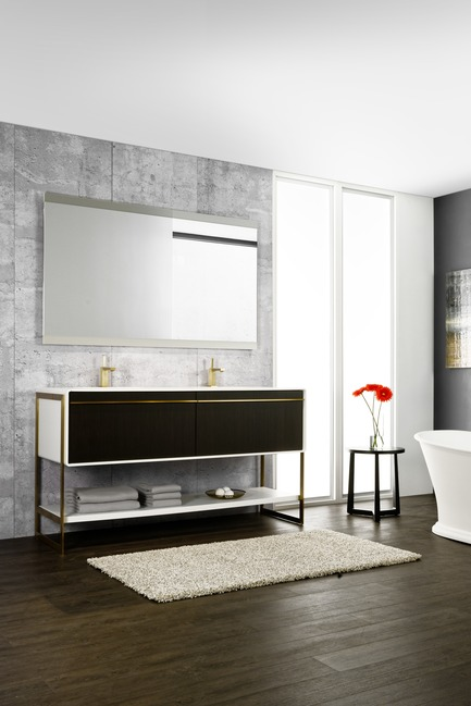 Press kit | 2342-02 - Press release | Introducing Déco Collection - WETSTYLE - Product - Déco 60 inch floor-mount vanity. Wood finish: Torrified Eucalyptus wood and white matte lacquer. Stainless steel finish: Satin brass. - Photo credit: WETSTYLE