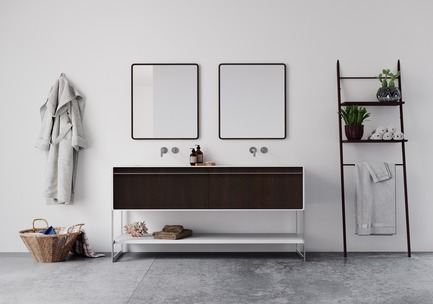 Press kit | 2342-02 - Press release | Introducing Déco Collection - WETSTYLE - Product - Déco 60 inch floor-mount vanity. Wood finish: Oak Coffee Bean wood and white matte lacquer. Stainless steel finish: Brushed metal - Photo credit: WETSTYLE
