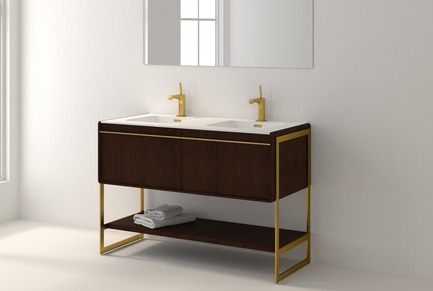 Press kit | 2342-02 - Press release | Introducing Déco Collection - WETSTYLE - Product - Déco 48 inch floor-mount vanity. Wood finish: Oak Coffee Bean. Stainless steel finish: Satin brass metal.  - Photo credit: WETSTYLE