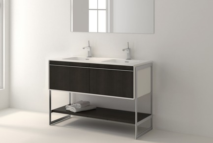 Press kit | 2342-02 - Press release | Introducing Déco Collection - WETSTYLE - Product - Déco 48 inch floor-mount vanity. Wood finish: Oak smoked and White Matte lacquer. Stainless steel finish: Brushed metal.  - Photo credit: WETSTYLE