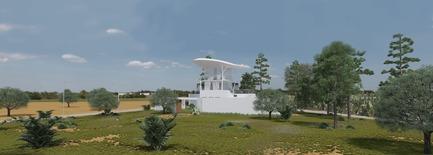 Dossier de presse | 1136-07 - Communiqué de presse | L'Agora Rurale de Sarah Mag Toumi de Bir Sallah(El Hencha), Tunisie - Philippe Barriere Collective Tn (PB+Co) - Architecture commerciale -    Changement de la couleur de l'éclairage LED dans la toiture aérienne, crée un nouveau repère civique dans le paysage rural.<br>    - Crédit photo :  Yosri Boukadida