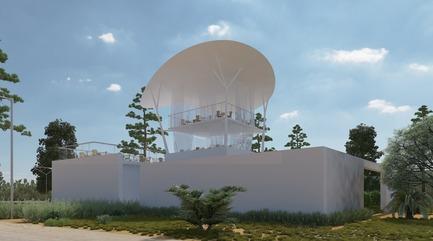 Dossier de presse | 1136-07 - Communiqué de presse | L'Agora Rurale de Sarah Mag Toumi de Bir Sallah(El Hencha), Tunisie - Philippe Barriere Collective Tn (PB+Co) - Architecture commerciale -   La conception est guidée par les principes d'Hybrid Architecte où la construction traditionnelle, les écosystèmes naturels et les réseaux numériques sont intégrés par conception. L'utilisation de l'acier est minimisée grâce à une structure de colonne légère innovante et à un auvent léger.<br>Des rideaux extérieurs protègent contre le soleil ou la pluie selon les besoins.<br>   - Crédit photo : Yosri Darboukadida