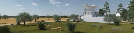 Dossier de presse | 1136-07 - Communiqué de presse | L'Agora Rurale de Sarah Mag Toumi de Bir Sallah(El Hencha), Tunisie - Philippe Barriere Collective Tn (PB+Co) - Architecture commerciale -  L'étage supérieur fonctionne comme un belvédère, panoramique en forme de tourelle, de coupole, ou de maison de jardin sur une hauteur pour donner une vue étendue. En tant que forme structurée, il fait partie intégrante de l'histoire du jardin: c'est le « pavillon d'observation ».<br>  - Crédit photo : Yosri Boukadida