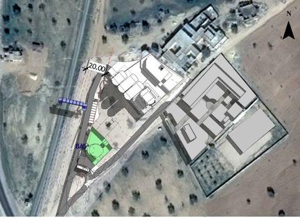 Dossier de presse | 1136-07 - Communiqué de presse | L'Agora Rurale de Sarah Mag Toumi de Bir Sallah(El Hencha), Tunisie - Philippe Barriere Collective Tn (PB+Co) - Architecture commerciale -   Google map du site, avec un lycée à droite de l'image, unevoie ferrée traversant l'image de bas en haut à gauche et un groupement de logement en haut à droite. Le centre est au milieu en blanc. Le café Internet est en vert.   - Crédit photo : Google map - Philippe Barriere Collective (PB+Co)
