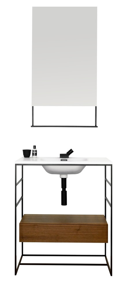 Press kit | 2342-03 - Press release | WETSTYLE dévoile C2 une nouvelle collection de meubles-lavabos et d'accessoires - WETSTYLE - Product - C2 Collection: 30 inch console and wall-mounted drawer with 19 inch mirror - Photo credit: WETSTYLE