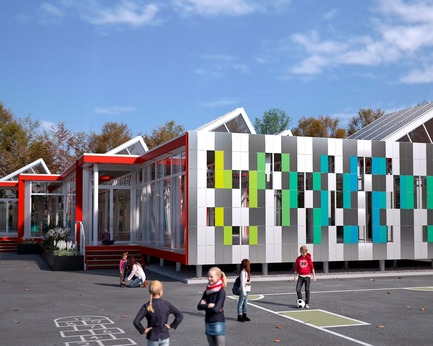 Dossier de presse | 974-10 - Communiqué de presse | Architecture and Community Commitment: A Tale of Aluminum - Five Competition Finalists Unveiled - Alcoa Canada Primary Products Group - Competition - School in Motion: An avant-garde solution for temporary learning spaces - Crédit photo : Luc Plante architecture + design – Charles Godbout, Topo design