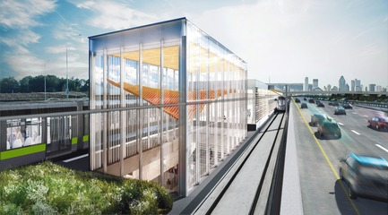Dossier de presse | 865-32 - Communiqué de presse | Powerful and Eloquent, REM Architectural and Landscape Concept to Transform Greater Montreal Cityscape - Lemay - Urban Design -  REM - Panama Station  - Crédit photo : Réseau express métropolitain (REM)