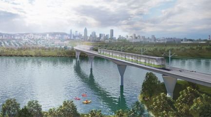 Dossier de presse | 865-32 - Communiqué de presse | Powerful and Eloquent, REM Architectural and Landscape Concept to Transform Greater Montreal Cityscape - Lemay - Urban Design -  REM - Île-des-Soeurs Bridge  - Crédit photo : Réseau express métropolitain (REM)