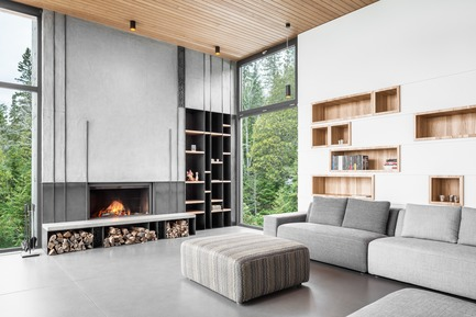 Press kit | 1572-02 - Press release | Long Horizontals - Thellend Fortin Architectes - Residential Architecture - fireplace - Photo credit: Charles Lanteigne
