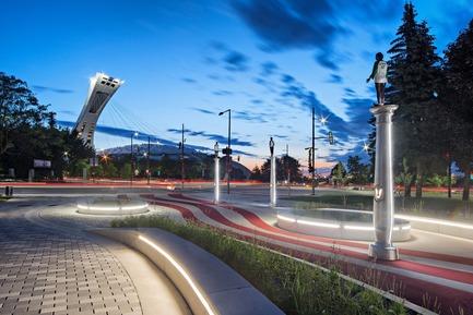 Dossier de presse | 2366-02 - Communiqué de presse | Un graphisme fort pour le parc Guido-Nincheri à Montréal - civiliti - Design urbain -   Vue du parc Guido-Nincheri avec le Stade olympique de Montréal, en arrière-plan<br> - Crédit photo : David Giral