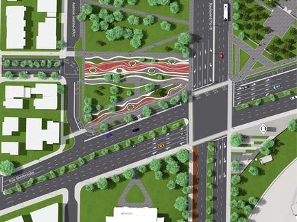 Press kit | 2366-02 - Press release | Un graphisme fort pour le parc Guido-Nincheri à Montréal - civiliti - Urban Design - Parc Guido-Nincheri's site plan<br> - Photo credit: civiliti