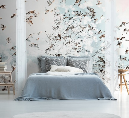 Press kit | 3279-02 - Press release | FEATHR Launches New Wallpaper Collection Featuring the Remarkable Landscape Paintings of Tamara Piilola - FEATHR - Residential Interior Design - Ornament wall mural by Tamara Piilola for FEATHR - Photo credit: FEATHR/Photographee.eu/Shutterstock.com