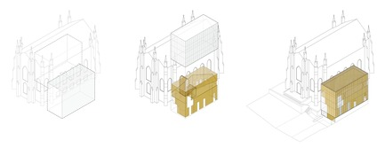 Press kit | 721-07 - Press release | Maison de la littérature(House of Literature) - Chevalier Morales Architectes - Institutional Architecture - Axonometric projection - Photo credit: Chevalier Morales Architectes