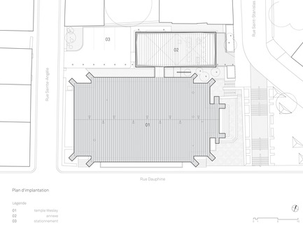 Dossier de presse | 721-07 - Communiqué de presse | Maison de la littérature - Chevalier Morales Architectes - Architecture institutionnelle - Plan d'implantation - Crédit photo : Chevalier Morales Architectes
