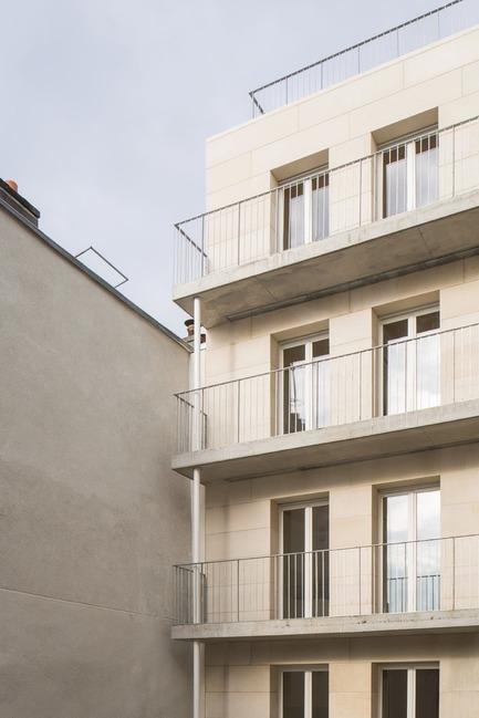 Press kit | 3378-01 - Press release | Social Housing Units in Massive Stone - Barrault Pressacco architectes - Residential Architecture - Barrault Pressacco - Oberkampf - Photo credit: (c)Giaime-Meloni