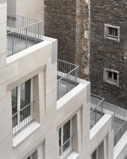 Press kit | 3378-01 - Press release | Social Housing Units in Massive Stone - Barrault Pressacco architectes - Residential Architecture - Barrault Pressacco - Oberkampf - Photo credit:  (c)-Maxime-Delvaux