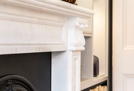 Press kit | 1701-04 - Press release | Victorian Townhouse, Highgate, London - LLI Design - Residential Interior Design - Living & Dining Room - Fireplace detail - Photo credit: Photography / Styling : Rick Mccullagh / LLI Design