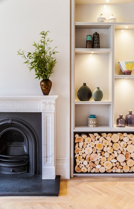 Dossier de presse | 1701-04 - Communiqué de presse | Victorian Townhouse, Highgate, London - LLI Design - Design d'intérieur résidentiel - Living & Dining Room - Joinery / Fireplace detail - Crédit photo : Photography / Styling : Rick Mccullagh / LLI Design